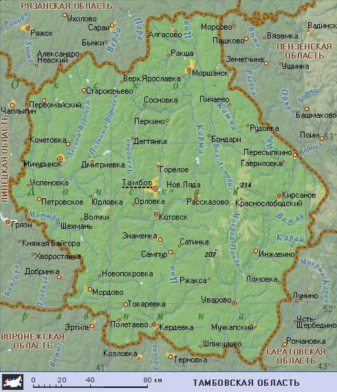 Схема Тамбовской области